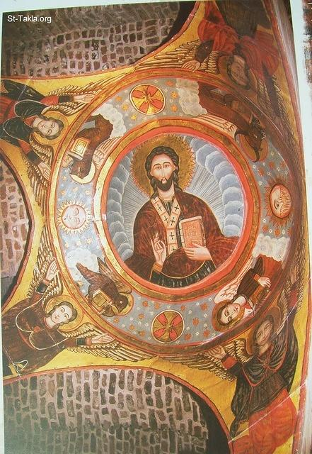 St-Takla.org Image: The painting of Saint Bahnam�s altar: A painting from the altar�s dome of Mar/Saint Bahnam in Saint Mina Church, Fom El Khaleg, Old Egypt, dating back to the 18th Century A.D. It depicts Christ the Lord, the pentocrator, surrounded by the four, sun and moon, and four angels carrying the dome. ���� �� ���� ������ ����: ��� ���� ��������: ��� �� ��� ���� �������� ������ ������� ��� ������ ���� ������ɡ ����� �������� ��� ����� ������ ���. ����� ����� ������ ���� ���� ����� ������� ������ ��� �������ɡ ������ �����ѡ ������ ������ ������ �����.