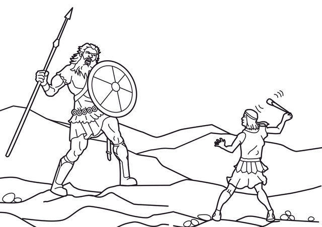 "St-Takla.org Image: coloring picture of David and Goliath - Courtesy of ""Encyclopedia of the Bible Coloring Images"" ���� �� ���� ������ ����: ���� ����� ����� ����� ���� ����� ������� - ������ ����: ������ ��� ������ ������ �������"