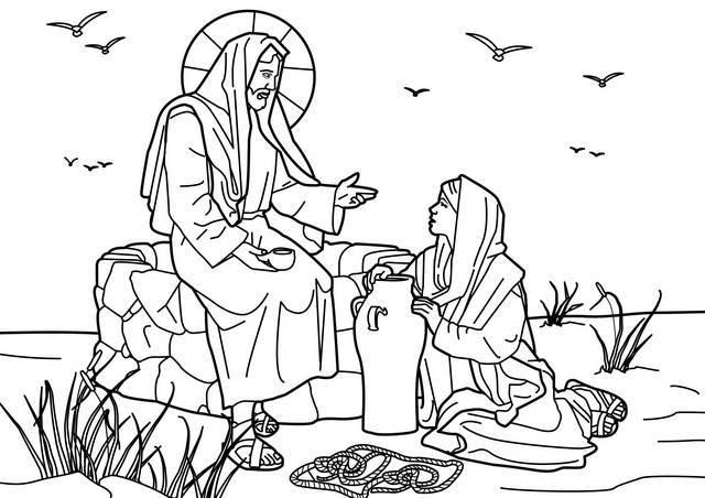 "St-Takla.org Image: Coloring Picture of Jesus Christ with the Samaritan Woman at the Well - Courtesy of ""Encyclopedia of the Bible Coloring Images"" ���� �� ���� ������ ����: ���� ����� ����� ������ �� ������ �������� ��� ����� - ������ ����: ������ ��� ������ ������ �������"