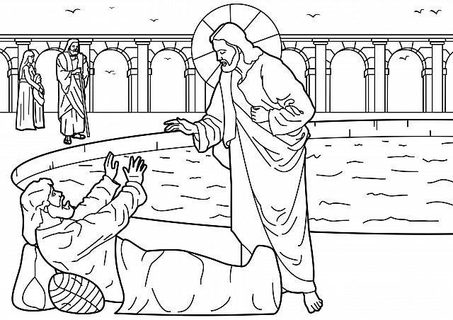 "St-Takla.org Image: Coloring picture of Healing of the man at the Pool of Bethesda - Courtesy of ""Encyclopedia of the Bible Coloring Images"" ���� �� ���� ������ ����: ���� ����� ���� ���� ���� ��� ���� - ������ ����: ������ ��� ������ ������ �������"