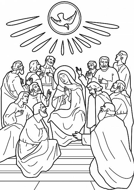 "St-Takla.org Image: Coloring picture of The Descent of the Holy Spirit on Apostles: the Pentecost - Courtesy of ""Encyclopedia of the Saints' Colouring Images"" ���� �� ���� ������ ����: ���� ����� ���� ���� ����� ����� ��� �������� - ������ ����: ������ ��� �������� �������"