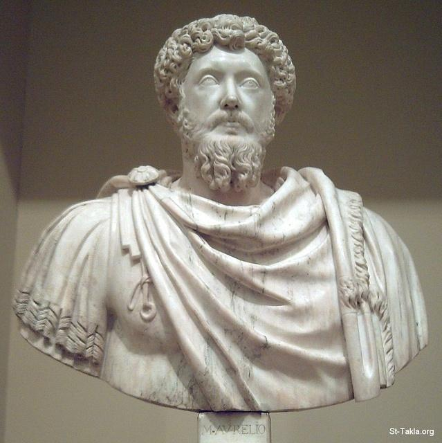 St-Takla.org         Image: Marble bust of Roman emperor Marcus Aurelius (121�180 CE) sculpted in the 16th century. It follows the model of the ancient bronze equestrian statue in Rome ����: ����� ����� ���� ���� ���������� ������ �������� (121-180 �. �.) ����� �� ����� ������ ��ѡ ����� ����� ������ �������� ��������� �� ����