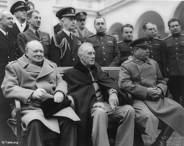 St-Takla.org Image: Seated are: Winston Churchill, Franklin D. Roosevelt and Josef Stalin - Yalta Conference, February 9, 1945 - Standing behind are: Admiral of the Fleet Sir Andrew Cunningham, RN, Marshal of the Royal Air Force Sir Charles Portal RAF and Fleet Admiral William D. Leahy, USN and Soviet officers - Library of Congress , Franklin D. Roosevelt Library & Museum, by U. S. Signal Corps ���� �� ���� ������ ����: ������ ��: ������� ������� - �������� �. ������� - ���� ������ ���� �� ����� ����ǡ 9 ������ 1945 - ������ ������ ��: ������ (���������) ����� ��� ����� ��������� �� �� ���� (������) ������ ������ ������� ����� ������ ������ ��ݡ �������� ������� ������ �. ����� ���� ������� �������� - �� ����� ��������ӡ ����� ����� ������� �����ʡ ����� ���� ������� ��������