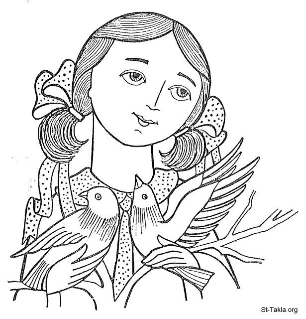 St-Takla.org Image: Coptic young woman with birds, happy, thankful ���� �� ���� ������ ����: ����� ����� ���� �� ���ѡ ���ɡ ����͡ ����ѡ �����