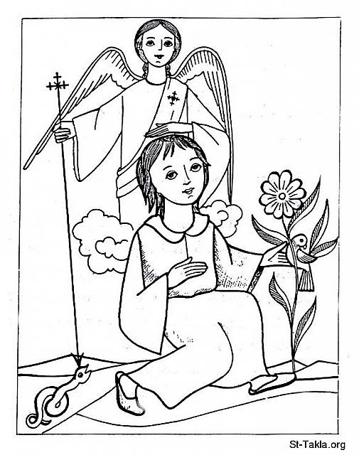 St-Takla.org Image: A happy young woman with her guardian angel, who is beating the devil, while she is sitting around the beautiful nature like flowers and birds - Coptic art. صورة في موقع الأنبا تكلا: فتاة/امرأة فرحة مع الملاك الحارس، وهو يسحق الشيطان، وهي جالسة حولها الطبيعة الجميلة من زهور وطيور - فن قبطي.