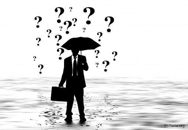 St-Takla.org Image: Silhouette of man standing with a briefcase and an umbrella, rounded by questions marks of uncertainty - by geralt. صورة في موقع الأنبا تكلا: رسم ظلي يصور رجلًا واقفًا وهو ممسكًا بحقيبة ومظلة، محاطًا بعلامات استفهام تعبر عن المجهول - لجيرالت.