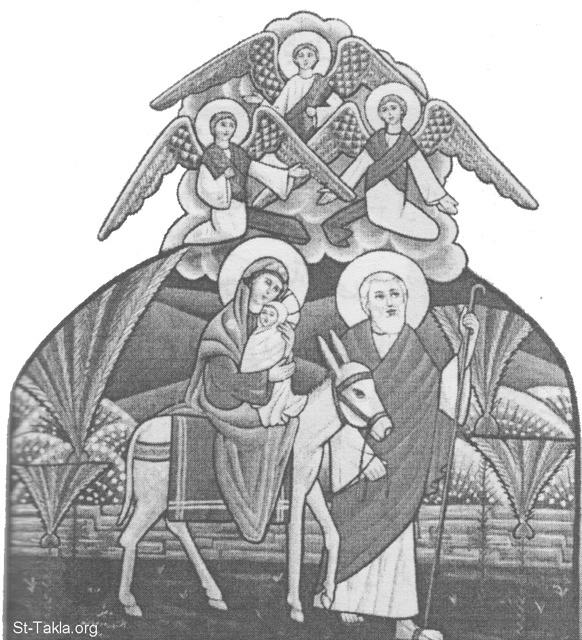 St-Takla.org Image: The flight of the Holy Family to Egypt: Saint Joseph the Carpenter, St. Mary the Virgin and the baby Jesus Christ - Modern Coptic icon, painted by the nuns of Saint Demiana Monastery, Egypt ���� �� ���� ������ ����: ���� ������� ������� ��� ��� ���: ������ ���� �����ѡ ������� ���� �������� ����� ���� ������ - ������ ����� ����� �� ��� ������ ��� ������� ������ �������� ���