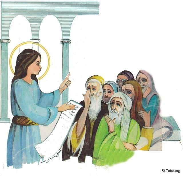 St-Takla.org Image: Jesus Christ talking to the elders in the Jewish Temple, by Fahmy Eshak ���� �� ���� ������ ����: ����� ������ ����� �� ������ �� ������ ������� ��� ������ ���� ����