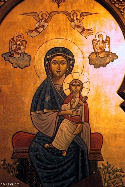 St-Takla.org Image: Modern Coptic art of the Theotokos, Saint Mary Mother of God carrying Jesus Christ ���� �� ���� ������ ����: ������ ����� �����: ���������� - ������ ���� ������� ���� ����� ������