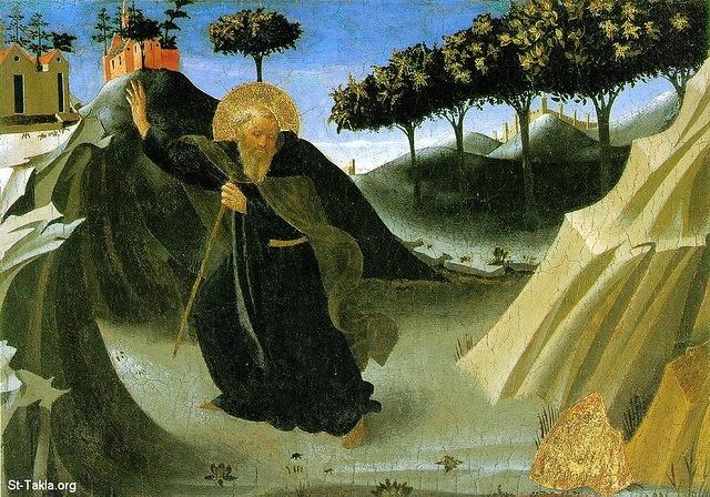 St-Takla.org Image: Sant'antonio Abate Tentato Dall'oro, Houston (Saint Anthony -the Abbot Tempted by a Lump of Gold), Fra Angelico (1395�1455), tempera on panel, 19.7 x 28 cm (ca. 1436), Museum of Fine Arts, Houston. ���� �� ���� ������ ����: ���� ����� �� ����� ������ �������� ������ ����� ��ȡ ��� ������ ��� �������� (1395-1455)� ����� ��� ��� ����� 19.7�28 �� ������ ������� ��� 1436� ������ �� ���� ������ ������ɡ �������