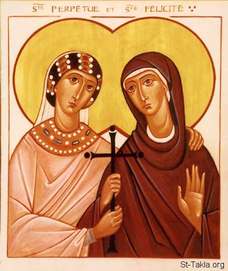 St-Takla.org Image: Saints Perpetua and Felicitas icon - from the workshop of the Brotherhood of the Holy Trinity, France. ���� �� ���� ������ ����: ������ ��������� ������ �������� - �� ���� ����� ������� �����ӡ �����