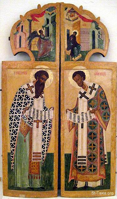 St-Takla.org Image: Royal Doors, Pskov. Depicted are the Annunciation (top), Saint Basil the Great (left) and Saint John Chrysostom (right), 17th century ���� �� ���� ������ ����: ������� ������ɡ ������.� ����� �� ������ ��� ������� ������� �� ������ ������� (����) - ������ �������� ������ (����) - ������ ����� �� ����� (����) - ����� ������ ��� ��������