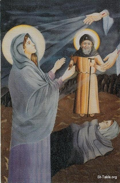 St-Takla.org Image: Saint John the Short (Youhanna Al Kasir, Yehnes) with Saint Baisa ���� �� ���� ������ ����: ������ ����� ������ (����� �� ���� ������) ��  ������� ������ �������