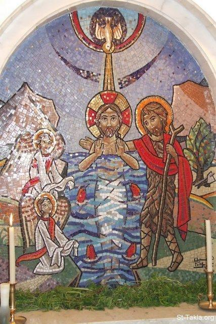 St-Takla.org Image: The Baptism of Jesus Mosaic fresco at the wall of the Baptistery of St. Takla Haymanout Church, Alexandria, Egypt - Inauguration of the new Baptistery of Saint TaklaHaimanout Coptic Orthodox Church, Alexandria, Egypt, by H. H. Pope Shenouda III, August 05th, 2007 - Photograph by Michael Ghaly for St-Takla.org ���� �� ���� ������ ����: ���� ������ ������� ��� ���� ������� ����� ������ ����������� ����������� ���� ���� ������ - ��� ����� ��������� ������� ������ ������ ����������ʡ ����������ɡ ���������� ��� ����� ������ ����� �����ˡ 5 ����� 2007 - ����� ����� ���� ��: ���� ������ ���� �������
