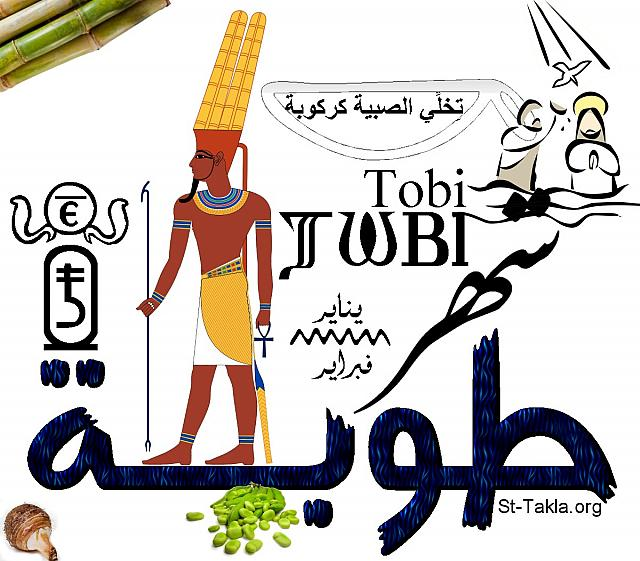 "St-Takla.org Image: Month of Touba, the fifth Coptic month in the Egyptian Coptic Calendar. The word is written in Arabic, English and Coptic, with images and figures representing this month. One of this month's famous sayings: ""Touba, makes an old woman from the girl "", due to the harsh cold. This month is dedicated to ""Emso"", one of the forms of ""Amun Ra"" God of Thebes, and you can see his image. In the cartouche there is the number of the month (5), and in the circle that is surrounded by serpents there is the number in Coptic. It lies between January and February, and has the Feast of Baptism of Jesus Christ by John the Baptist (shown). Finally there are images of some of the plants of this month, like: taro - green beans - sugarcane. (Designed by Michael Ghaly for St-Takla.org) صورة في موقع الأنبا تكلا: كلمة شهر طوبة، وهو الشهر القبطي الخامس من الشهور القبطية المصرية. والكلمة مكتوبة باللغات العربية والإنجليزية والقبطية، مع صور وأشكال تعبر عن الشهر. فيوجد من الأمثال الشعبية لهذا الشهر: ""طوبة تخلي الصبية كركوبة""، أي بسبب البرد الشديد. والشهر مخصص للإله إمسو أحد أشكال آمون رع إله طيبة، ويوجد صورته. وفي الخرطوش يوجد رقم الشهر (5)، وفي الدائرة المحاطة بالثعابين يوجد رقم الشهر بالقبطية. وهو يقع ما بين شهري يناير وفبراير، وبه معمودية السيد المسيح من يوحنا المعمدان كما يظهر في الصورة. وأخيرًا يوجد بعض نباتات هذا الشهر مثل القلقاس، الفول الأخضر، القصب. - تصميم مايكل غالي لـ: موقع الأنبا تكلا هيمانوت"