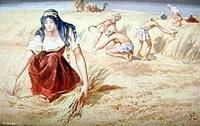 Image: Ruth gleaning in the Field of Boaz <br> صورة