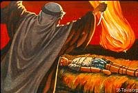 Image: Abraham stretched out his hand and took the knife to slay his son Isaac<br>صورة إبراهيم يستعد لذبح اسحق