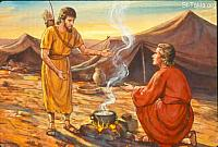 Image: Esau asks for food from his brother Jacob<br>صورة عيسو يطلب طعاما من أخيه يعقوب