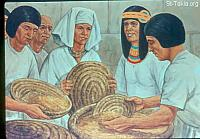 Image: All countries came to Joseph in Egypt to buy grain, because the famine was severe in all lands <br> صورة ذهاب الناس ليوسف لشراء قمح