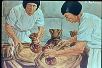 Image: Then Joseph gave a command to fill their sacks with grain, to restore every man's money to his sack<br>صورة الخدم يضعون أموالا في الأوعية