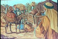 Image: Jacob sees the carts which Joseph had sent to carry him<br>صورة يعقوب يبصر العجلات والمركبات