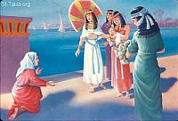 Image: Mary the sister of Moses offers to bring a nurse for the child<br>صورة مريم تعرض جلب مرضعة للطفل موسى