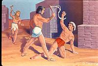 Image: Moses saw an Egyptian beating a Hebrew, one of his brethren<br>صورة رجل مصري يضرب رجلا عبراني، وموسى يراه