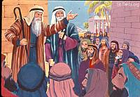 Image: Moses and Aaron went and gathered together all the elders of the children of Israel<br>صورة موسى وهارون يجتمعان مع شيوخ بنى إسرائيل