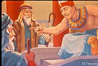 Image: Pharaoh threatens Moses and Aaron<br>صورة تهديد فرعون لموسى وهارون