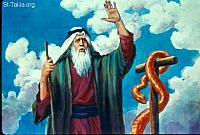 Image: Then the LORD said to Moses: make a fiery serpent, and set it on a pole<br>صورة الحية النحاسية