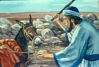 Image: So Balaam struck the donkey to turn her back onto the road<br>صورة بلعام يضرب الأتان