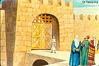 Image: Finishing the wall of Jerusalem by the power of the Lord<br>صورة بناء السور يكمل تماما بقوة الرب