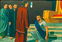 Image: Then King Nebuchadnezzar fell on his face, prostrate before Daniel<br>صورة الملك يركع أمام دانيال