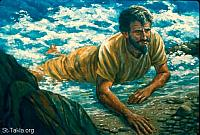 Image: The LORD spoke to the fish, and it vomited Jonah onto dry land<br>صورة أمر الرب الحوت فقذف يونان إلى البر