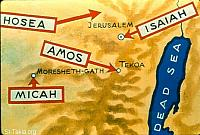 Image: A map for the origin of some prophets: Hosea, Amos, Micah, Isaiah<br>صورة خريطة لبيوت الأنبياء: هوشع، عاموس، ميخا، إشعياء