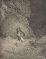 Image: Hagar in the wilderess, Paul Gustave Doré 's Bible Illustrations, 010 صورة هاجر في البرية، جوستاف دوريه