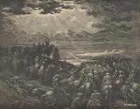 Image: The war against Gibeon, Paul Gustave Doré 's Bible Illustrations, 020 صورة الحرب ضد جبعون، جوستاف دوريه
