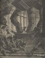 Image: The death of Samson, Paul Gustave Doré 's Bible Illustrations, 027 صورة موت شمشون، جوستاف دوريه