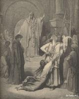 Image: The judgment of Solomon, Paul Gustave Doré 's Bible Illustrations, 037 صورة حكمة سليمان، جوستاف دوريه