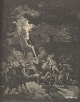 Image: Elijah destroying the messengers of Ahaziah, Paul Gustave Doré 's Bible Illustrations, 040 صورة إيليا يدمر رسل أحازيا، جوستاف دوريه