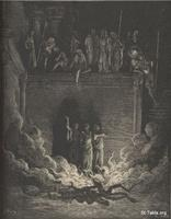Image: The fiery furnace, Paul Gustave Doré 's Bible Illustrations, 050 صورة أتون النار، جوستاف دوريه