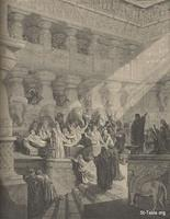 Image: Belshazzar's feast, Paul Gustave Doré 's Bible Illustrations, 051 صورة حفل بلطشاصر، جوستاف دوريه