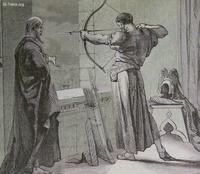 Image: Joash shooting arrows from a window at the command of Elisha