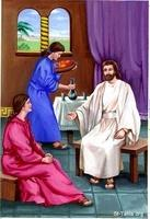 Image: The Lord Jesus in the house of Mary and Martha<br>صورة الرب يسوع في بيت مريم ومرثا