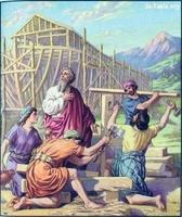 Image: 06 Noah and his sons buit an ark