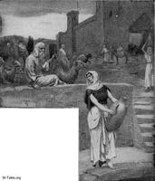 Image: abrahams servant meeting rebekah at the well