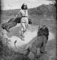 Image: The boy David meeting the lion