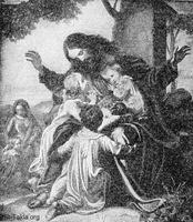 Image: jesus takes a little child in his arms