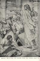 Image: Life of Christ by Canon Farrar 1894 010 pg69 Driving the Buyers and Sellers from the Temple