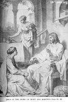 Image: Life of Christ by Canon Farrar 1894 019 pg108 Jesus in the Home of Mary and Martha